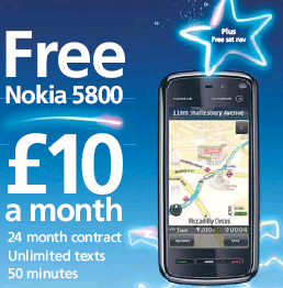 FREE Nokia 5800 from O2 – £10 Per Month